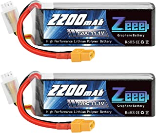 Zeee 11.1V 120C 2200mAh 3S RC Lipo Battery Graphene Lipo with XT60 Plug for FPV Drone Quadcopter Helicopter Airplane RC Boat RC Car RC Models(2 Pack)