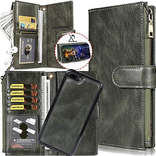 Auker iPhone 8 Plus Funda tipo portafolios desmontable con correa, para iPhone 7 Plus, tarjetero y cierre, con cierre para billetera de piel 2 en 1 extraíble magnética con funda...