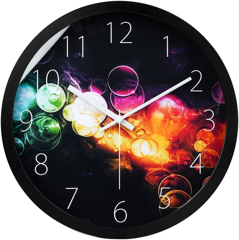 CTLDYR Reloj de Parojo Metal rojoondo Reloj de Parojo Creativo Silencioso Alimentado por batería Apto para Sala de Estar Comedor Oficina Dormitorio Reloj,negro,25cm(10in)