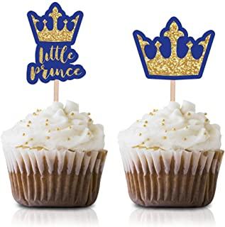 Little Prince Cupcake Topper Picks, 24-Pack Royal Blue Gold Boy Baby Shower Kids Birthday Party Decorations