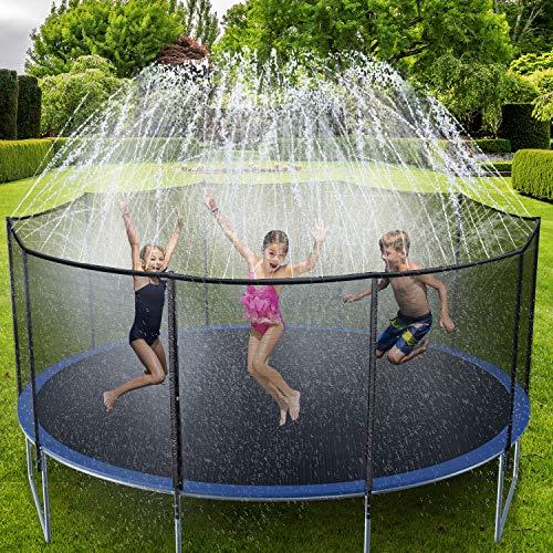 Ohuhu Trampoline Sprinklers for Kids 49FT, Outdoor Water Play Sprinklers for Kids Fun Summer Water Toys, Water Games Yard Toys Sprinklers Backyard Sprayer Water Park for Boys Girls