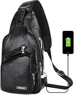 Bageek Mens Chest Bag Sling Bag USB Port Portable Sling Backpack for Outdoor