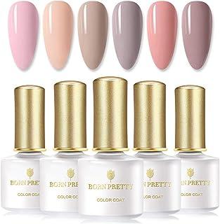 BORN PRETTY esmaltes semipermanentes Gel UV Set de esmaltes de uñas 6 botellas de 6 ml serie desnuda Color puro empapa ...