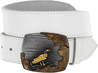 Made in Italy Buckle Steampunk Crow Mens Casual Jean Belt Solid Leather Strap