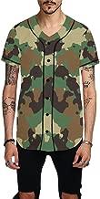 Military Camo Camouflage Pattern Print Men's Baseball Jersey Button Down T Shirts