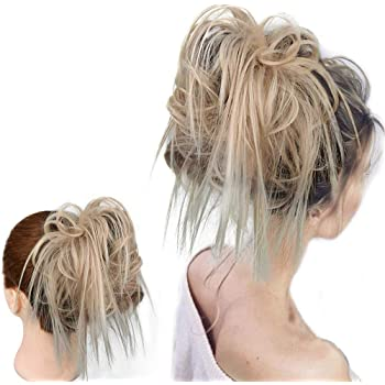 HMD Tousled Updo Messy Bun Hair Piece Hair Extension Ponytail With Elastic Rubber Band Updo Extensions Hairpiece Synthetic Hair Extensions Scrunchies Ponytail for Women