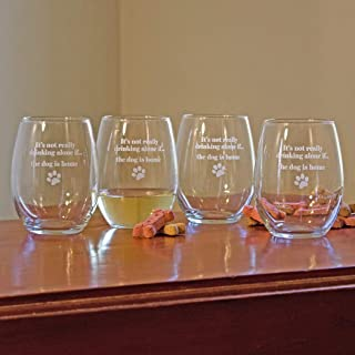 Stemless Wine Glasses (Set of 4) Custom Made...For the Red or White Wine Lover Made of Crystal and Etched Glass Says