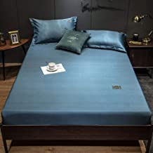 with Strong Elastic Hem,Ice Silk Printed Sheets,Non-Slip Protective Cover, Apartment Bedroom Double King Size-Blue_90*200cm