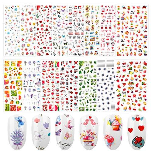 Jubaopen 1500+ Stück Nagel Sticker Sommer Selbstklebend Nail Art Aufkleber Nageldesign Sticker Blume Tier Obst Meerjungfrau 3D Nagelaufkleber Fingernägel Tattoos für Frauen Mädchen Kinder (15 Blatt)