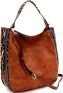 Leopard Print Vegan Leather Color Block Striped 2 Way Hobo Bag Crossbody Purse