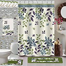BH Home & Linen 18 Piece Floral Designs Banded Shower Curtain Bath Set,1,Bath Rug,1 Contour Rug 1, Shower Curtain 12 Metal...