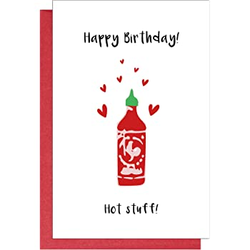Amazon Com Hot Stuff Happy Birthday Card Funny Cute Bday Card For Husband Wife Boyfriend Girlfriend Office Products