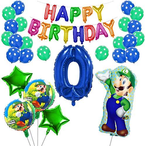 Yisscen Luftballons Geburtstagsdekoration Mario Latex Happy Birthday Girlande Ballons Zahl 0 Sterne Folienballon Set Party Supplies für Kindergeburtstage Jahrestage