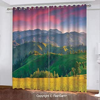 "Best Home Fashion Blackout Curtains Summer Sunrise in The Mountains with Rolling Hills and Valleys in Morning Light Deco Decorative Window Treatment Pair for Bedroom(84""X84"")"