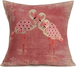 Smilyard Flamingos Pattern Pillow CoversSweet Family Throw Pillowcase Vintage Pink Cotton Linen Decorative Cushion Covers Square Outdoor Indoor Couch Bedroom 18x18 Inch (Pink Bird 02)