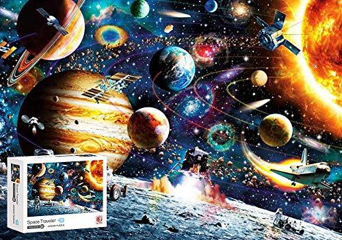 Rompecabezas Espacial de 1000 Piezas, Jigsaw Puzzle Game para Niños Adultos, Planetas Espacio Jigsaw Puzzle, Traje para el Ejercicio del Pensamiento de los Niños, Interacción Entre Padres e Hijos