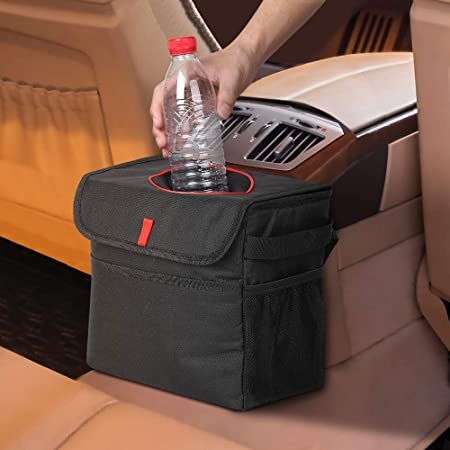 Haitral Auto Mülleimer Mit Deckel Wasserdicht Auslaufsicher Abfalltasche Faltbar Abfalleimer Für Auto Pkw Lkw Auto
