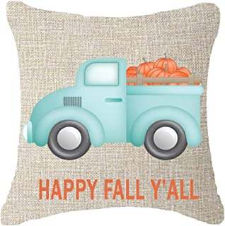 Best Thanks Gifts Pumpkin Harvest Cotton Linen Throw Pillow Case Cushion Cover Home Office Decorative Square 18 X 18 Inches