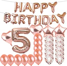 Sweet 5th Birthday Decorations Party Supplies,Rose Gold Number 5 Balloons,5th Foil Mylar Balloons Latex Balloon Decoration,Great 5th Birthday Gifts for Girls,Women,Men,Photo Props