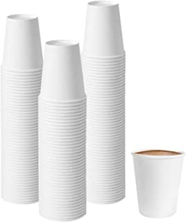 Tebery 300 Pack White Paper Coffee Cups 7oz Disposable Paper Cup for Water, Juice, Coffee or Tea