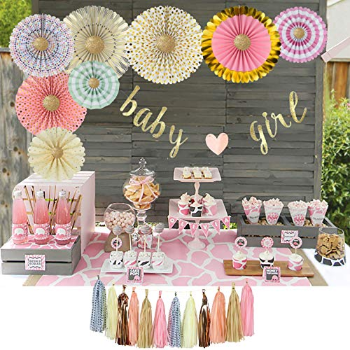 YARA Baby Shower Decorations For Girl Pink and Gold Party Decor Baby Girl Garland Banner Decoration & Supplies Rustic Rose Gold Boho Theme Paper Fans & Tassels For It's A Girl Floral Princess Sprinkle
