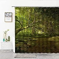 FDKL シャワーカーテン 3Dプリント美しい森手描きの風景森鹿シャワーカーテンバスルームカーテンポリエステルバススクリーン家の装飾