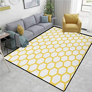 Large Area Rug Yellow and White Hexagonal Pattern Honeycomb Beehive Simplistic Geometrical Monochrome Children Bedroom Rugs Yellow White