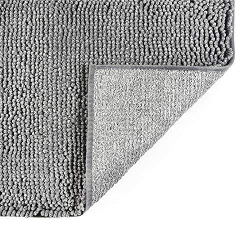 COSY HOMEER 50X80cm Badematte, rutschfest Waschbar Badezimmerteppich, Weich Badvorleger aus Chenille, Trocknend und Schimmelresistent Badteppich für Badezimmer (grau)
