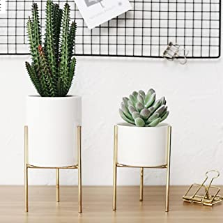 Indoor Plant Stand, Ceramic Planter with Iron Stand,Metal Plant Stands Indoor,Planter Pots Holder,Plants Display Rack, House Planters Iron Holders Decor Garden Flower Tray(L,Gold)