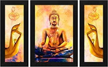Story at Home Abstract and Buddha Wall Painting with Frame - (Wood, 30cm x 30cm x 3cm, Set of 3), Multicolor