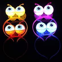 4PCS LED Light Up Headbands Glowing Hairband Alien Head Boppers Hair Hoop for Christmas Halloween Gift