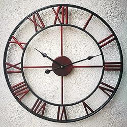 "HQF Oversized Roman Numeral Wall Clock, Eruner European Retro Handmade Industrial Large Decorative 3D Metal Clock Non-Ticking European for Kitchen Living Room Cafe Restaurant Decor Red 18.5"""