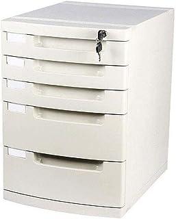 Armoire de rangement à 5 tiroirs avec verrou et étiquette vierge, convient pour les fournitures de bureau (couleur : grand...