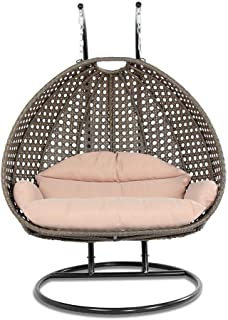 Island Gale Luxury 2 Person Outdoor, Patio, Hanging Wicker Swing Chair (X-Large, Latte Rattan/Latte Cushion)