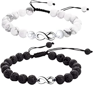 SOFTONES 8MM Lava Rock Aromatherapy Anxiety Essential Oil Diffuser Beads Bracelet for Men Women,Friendship Couples Gifts Natural Stone Bracelets