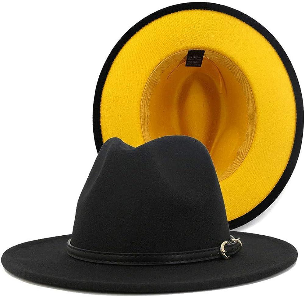 Gossifan Womens Wide Brim Fedora Hats Two Tone Panama Hat with Belt Buckle
