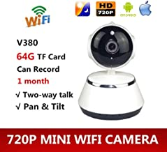 TOOGOO V380 Phone APP HD 720P Mini IP Camera WiFi Camera Wireless P2P Security Camera Night Vision IR Robot Baby Monitor Support(SD Card Not Included) (Color: White)