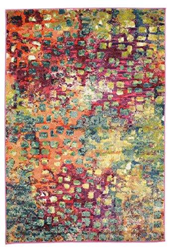 RugVista Tapis Davina, Poils Ras, 133 x 190 cm, rectangulaire, Moderne, Standard 100 by Oeko-TEX, polypropylène, Chambre, Salon, Multicolore