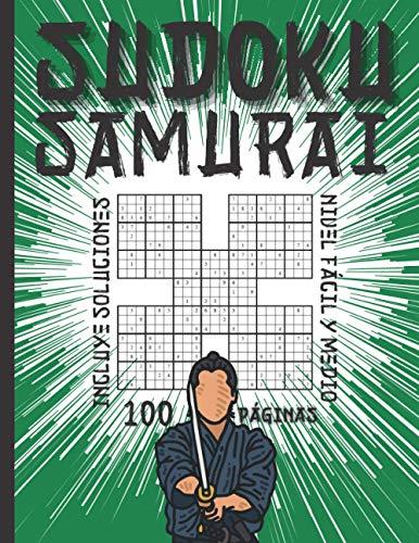 Sudoku Samurai Nivel Fácil y Medio - Incluye Soluciones - 100 Páginas: Para Niños, Adultos y Seniors con Dificultad Variable - Juegos de Lógica para ... reto perfecto y divertido para principiantes
