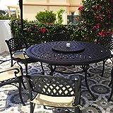 Lazy Susan - Frances 150 cm Runder Gartentisch mit 6 Stühlen - Gartenmöbel Set aus Metall, Antik Bronze (Kate Stühle, Beige Kissen)