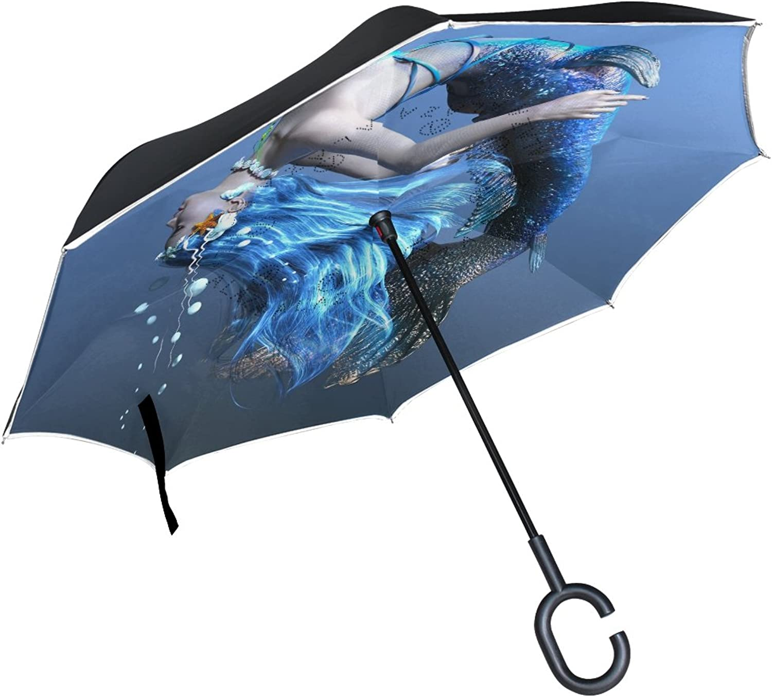 MASSIKOA 3D CG Rendering Of A Mermaid Ingreened Double Layer Straight Umbrellas Inside-Out Reversible Umbrella with C-Shaped Handle for Rain Sun Car Use