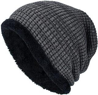 YJYdada Men Winter Outdoor Wool Knit Warm Hat Thick Soft Beanie Ski Stretch Skully Caps (Grey)