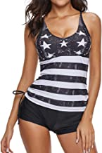 KANGMOON Women's High Waisted Swimsuit Two Piece Bathing Suit American Conservative Set Swimwear