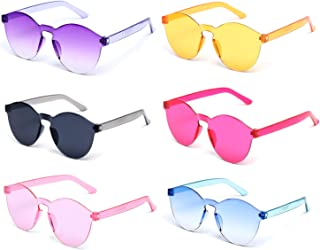 6 Pack Neon Colors Kids Sunglasses UV Coating Glasses...