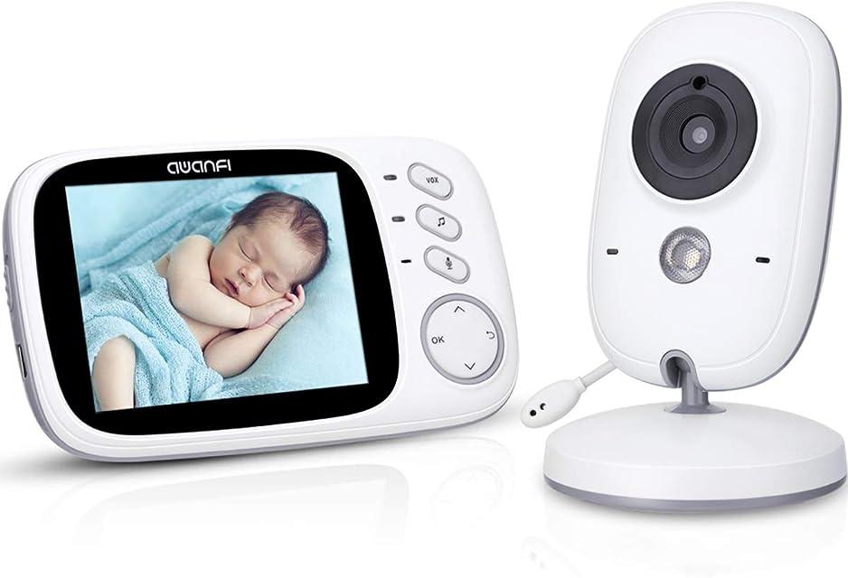 Vigilabebés Nocturna Videovigilancia Bebé Inalámbrico con Pantalla LCD 3.2 AWANFI Vigilancia Bebé Cámara Función VOX Activación por Voz Walkie Talkie Sensor de Temperatura y 8 Canciones de Cuna