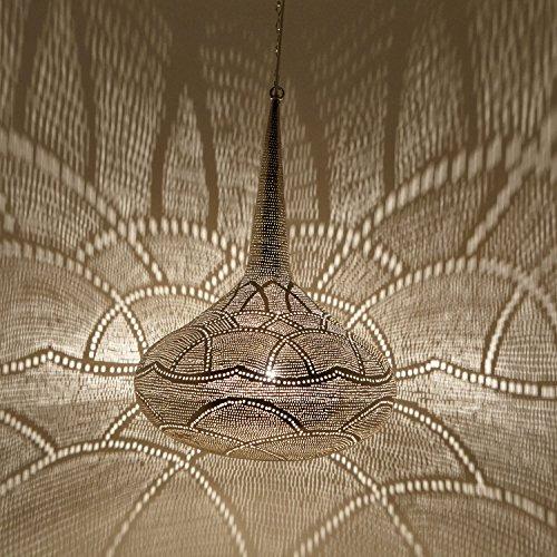 Orientalische Lampe marokkanische Hängelampe Mana D42 Silber tropfenform | Echt versilberte Messinglampe | Prachtvolle Pendelleuchte für tolle Lichteffekte wie aus 1001 Nacht | EL2290