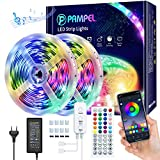 PAMPEL Tiras de LED 10M,Tira LED Regulable Control de Voz y APP,Luces LED Multicolor Sincroniza con...