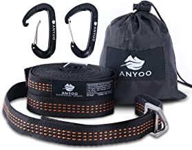 Anyoo Free-Adjustable Metal Buckle Hammock Straps No Loops Fully Adjusted for Camping Hiking Travelling Suitable for Any Hammocks