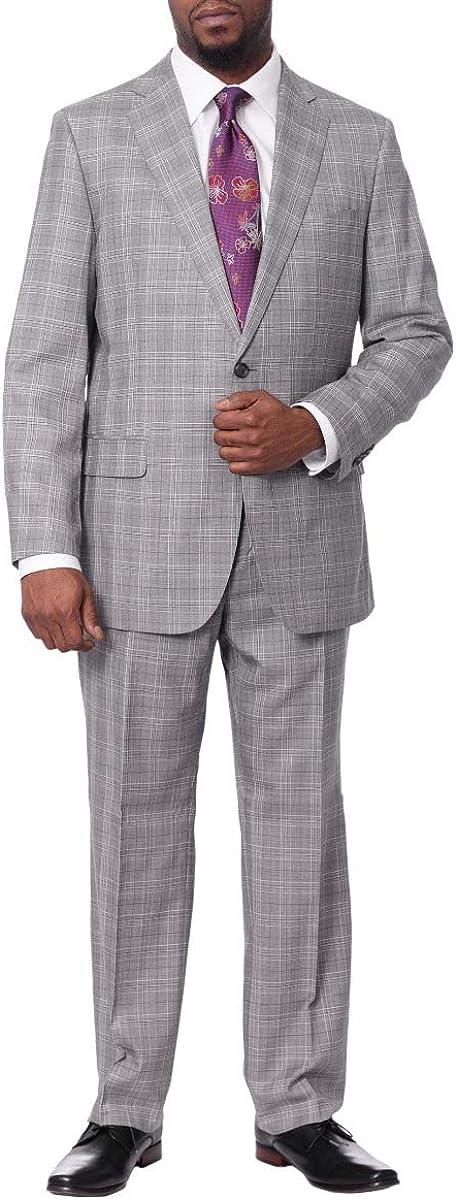 B. Jacket Mens Gray Plaid Wool & Silk Blend Regular Fit Suit