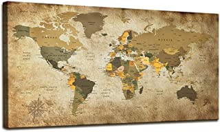 World Map Wall Art for Living Room Vintage Photos World Map Poster Canvas Prints Nautical Map Art Office Wall Art Modern Framed Wall Art Map of The World Canvas Painting Travel Memory Home Decor